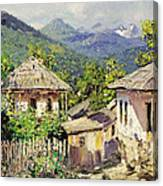 Village Scene In The Mountains Canvas Print
