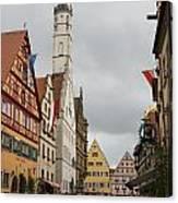 Village Scene Rothenburg Ob Der Tauber Canvas Print