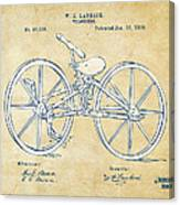 Vintage 1869 Velocipede Bicycle Patent Artwork Canvas Print