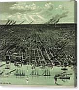 Vintage 1889 Detroit Michigan Map Canvas Print