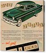 Vintage 1954 Ford Classic Car Advert Canvas Print