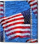 Vintage Amercian Flag Abstract Canvas Print