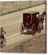 Vintage Amish Buggy And Bicycle Canvas Print