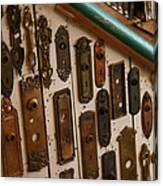 Vintage And Antique Door Knob And Lock Plates Canvas Print