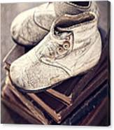 Vintage Baby Boots And Books Canvas Print