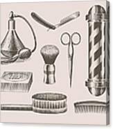 Vintage Barbershop Objects Canvas Print
