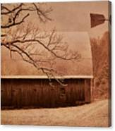 Vintage Barn And Windmill Winter Canvas Print