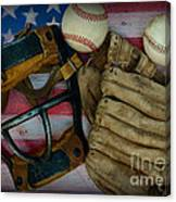 Vintage Baseball American Folk Art Canvas Print