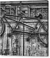 Vintage Bicycle Built For Two In Black And White Canvas Print