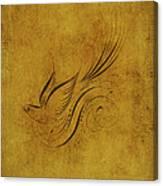 Vintage Bird On Gold Canvas Print