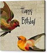 Vintage Birthday Birds Canvas Print