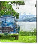 Vintage Blue Caddy At Lake George New York Canvas Print