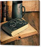 Vintage Books And Eyeglasses Canvas Print