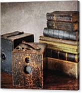 Vintage Cameras And Books Canvas Print