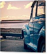Vintage Car At The Beach  Canvas Print