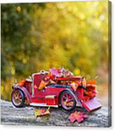 Vintage Car With Autumn Leaves Canvas Print