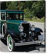 Vintage Cars Green Chevrolet Canvas Print