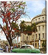 Vintage Cars Parked On A Street Canvas Print