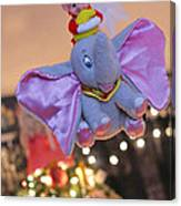 Vintage Christmas Elf Flying With Dumbo Canvas Print