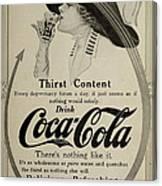 Vintage Coca Cola Ad 1911 Canvas Print