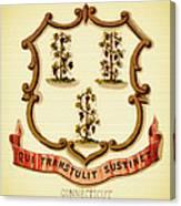 Vintage Connecticut Coat Of Arms - 1876 Canvas Print