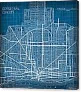 Vintage Detroit Rail Concept Street Map Blueprint Plan Canvas Print