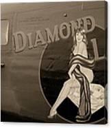 Vintage Diamon Lil B-24 Bomber Aircraft Canvas Print