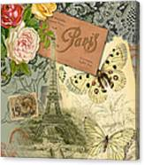 Vintage Eiffel Tower Paris France Collage Canvas Print