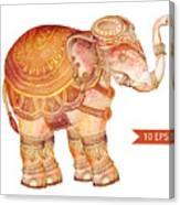 Vintage Elephant Illustration. Hand Canvas Print