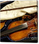 Vintage Fiddle In The Case Canvas Print