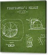 Vintage Firefighter Helmet Patent Drawing From 1932 - Green Canvas Print