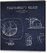 Vintage Firefighter Helmet Patent Drawing From 1932 - Navy Blue Canvas Print