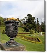 Vintage Flowerpots And Garden View - Powerscourt Garden Canvas Print