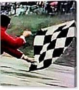 Vintage Formula Race Checkered Flag Canvas Print