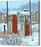 Vintage Gas Pumps Canvas Print