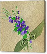 Vintage Greeting. Bouquet Of Purple Spray Flowers With Green Ribbon.  Canvas Print
