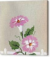 Vintage Greeting. Happy Flowers Along The Fence  Canvas Print