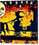 Vintage Halloween Scene Canvas Print