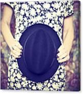 Vintage Hat Flower Dress Woman Canvas Print