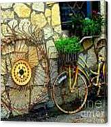 Antique Store Hay Rake And Bicycle Canvas Print