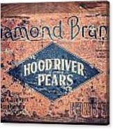 Vintage Hood River Pear Crate Canvas Print