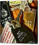Vintage Hotel Keys Canvas Print