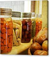 Vintage Jars On A Kitchen Window Canvas Print