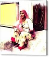 Vintage Just Sitting 2 - Woman Portrait - Indian Village Rajasthani Canvas Print