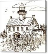 Vintage Lines Of East Point Lighthouse Canvas Print