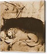 Vintage Lion Of Lucerne Canvas Print