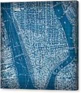 Vintage Manhattan Street Map Blueprint Canvas Print
