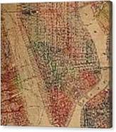 Vintage Manhattan Street Map Watercolor On Worn Canvas Canvas Print