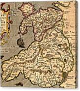 Vintage Map Of Wales 1633 Canvas Print