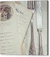Vintage Menu Cards Knife And Fork Canvas Print